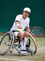 July 5, 2014, United Kingdom, London, Tennis, Wimbledon, AELTC, Wheelchairtennis, Shingo Kunieda (JPN)<br /> Photo: Tennisimages/Henk Koster