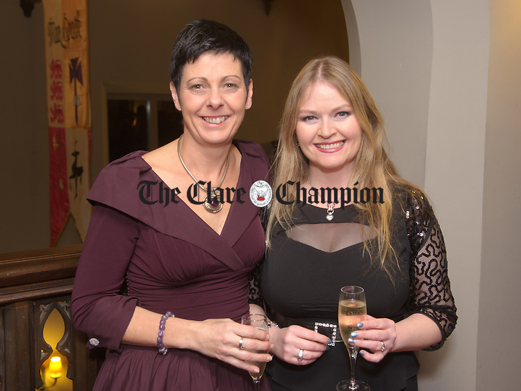 Heather Martin and Louise Summerly attending the Glor@Dromoland event, an evening of fine dining in the Brian Boru banqueting hall with entertainment by the Jerry Fish Electric Sideshow. Photograph by John Kelly.