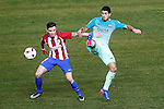 Atletico de Madrid's Saul Niguez (l) and FC Barcelona's Luis Suarez during Spanish Kings Cup semifinal 1st leg match. February 01,2017. (ALTERPHOTOS/Acero)
