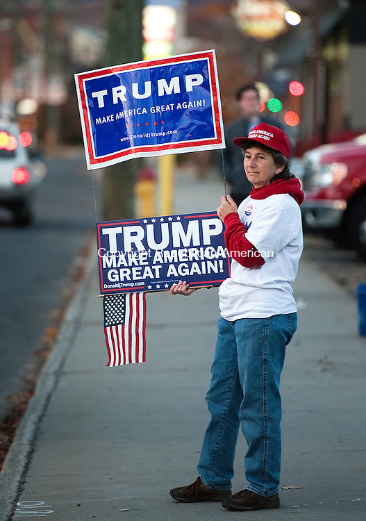 TORRINGTON,  CT-110816JS08- Debbie Catuccio of Torrington, campaigns for Presidential candidate Donald Trump outside the Torrington Armory on Tuesday. <br /> Jim Shannon Republican American