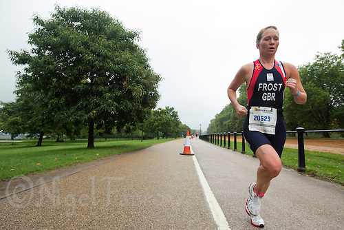 13 SEP 2013 - LONDON, GBR - Gemma Frost (GBR) of Great Britain runs through Hyde Park in London, Great Britain during the ITU 2013 World Age Group Sprint Distance Triathlon Championships (PHOTO COPYRIGHT © 2013 NIGEL FARROW, ALL RIGHTS RESERVED)