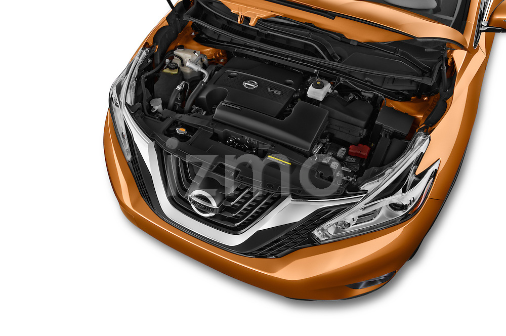 Car Stock 2015 Nissan Murano Platinum 5 Door SUV Engine high angle detail view