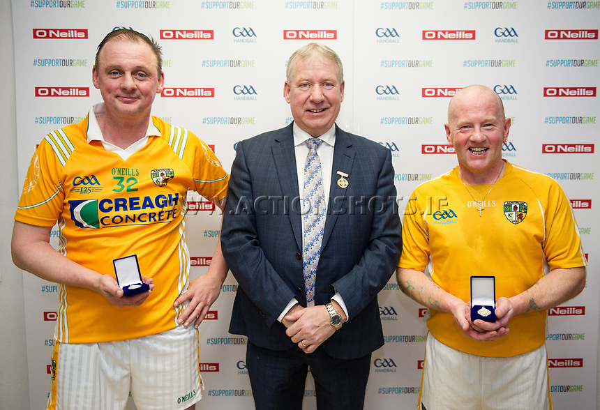 07/04/2018; GAA Handball O&rsquo;Neills 40x20 Championship Mens Masters A Final - Mayo (George Miller/John Conroy) v Antrim (Paddy Crothers/John McGarry), ; Kingscourt, Co Cavan;<br /> Winners Paddy Crothers and John McGarry with GAA Handball President Joe Masterson<br /> Photo Credit: actionshots.ie/Tommy Grealy