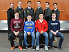The 2016 Newsday All-Long Island varsity boys swimming team poses for a group picture at company headquarters on Wednesday, Mar. 30, 2016. FRONT ROW, FROM LEFT: Ryan Brown - Garden City, Patrick Carter - West Islip, Alex Park - Half Hollow Hills and Christopher O'Shea - Rocky Point. BACK ROW, FROM LEFT: Coach Dan McBride - St. Anthony's, Andrew Stange - St. Anthony's, Tyler Meyers - St. Anthony's, Noah Chernik - St. Anthony's, Sean Cannon - St. Anthony's and Michael Chang - St. Anthony's.