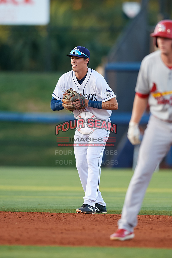 Charlotte Stone Crabs shortstop Tristan Gray (9) during a game against the Palm Beach Cardinals on April 20, 2018 at Charlotte Sports Park in Port Charlotte, Florida.  Charlotte defeated Palm Beach 4-3.  (Mike Janes/Four Seam Images)
