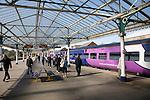 Train at platform with passengers, Bridlington station, Yorkshire, England