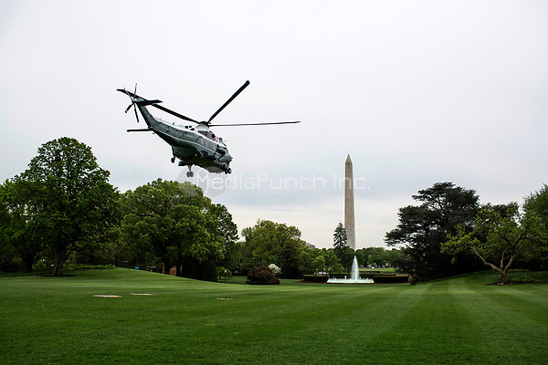 United States President Donald flies aboard Marine One as it takes off from the South Lawn of The White House on May 5, 2018 in Washington, DC. President Trump will travel to Cleveland, Ohio to speak at Public Hall ahead of state primary elections. <br /> Credit: Zach Gibson / Pool via CNP /MediaPunch