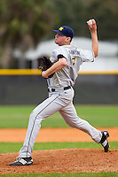 Michigan Wolverines pitcher Ben Ballantine #7 delivers a pitch during a game against the West Virginia Mountaineers at the Big Ten/Big East Challenge at the Walter Fuller Complex on February 19, 2012 in St. Petersburg, Florida.  (Mike Janes/Four Seam Images)