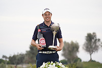 Steven Brown (ENG) during the presentation ceremony for the winner of the Portugal Masters 2019, Dom Pedro Victoria Golf Course, Vilamoura, Vilamoura, Portugal. 27/10/2019<br /> Picture Andy Crook / Golffile.ie<br /> <br /> All photo usage must carry mandatory copyright credit (© Golffile | Andy Crook)
