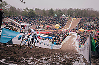 Mathieu van der Poel (NED/Corendon-Circus) demonstrating his dominance once again in the infamous &quot;Pit&quot; aka &quot;De Kuil&quot;<br /> <br /> Superprestige Zonhoven (BEL) 2018