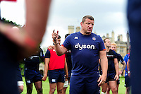 Bath Rugby first team coach Toby Booth speaks to his team in a huddle. Bath Rugby pre-season training session on August 9, 2016 at Farleigh House in Bath, England. Photo by: Patrick Khachfe / Onside Images