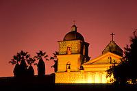 Santa Barbera Mission at sunset in California, USA