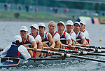 Rowing, US Women's eight, Cologne, Germany, 1998 FISA World Rowing Championships, From Bow: Katie Maloney, Wendy Wilbur, Torrey Folk, Amy Fuller, Jen Dore, Sarah Jones, Sally Scovel, stroke Lianne Nelson and cox Raj Shaw, The eight took silver at a time of 6:14.81, one second behind 1st place Romania .