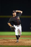 Quad Cities River Bandits pitcher Steve Naemark (6) delivers a pitch during the second game of a doubleheader against the Wisconsin Timber Rattlers on August 19, 2015 at Modern Woodmen Park in Davenport, Iowa.  Quad Cities defeated Wisconsin 8-1.  (Mike Janes/Four Seam Images)