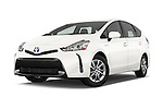 Stock pictures of low aggressive front three quarter view of a 2015 Toyota Prius v Four 4 Door Hatchback Low Aggressive
