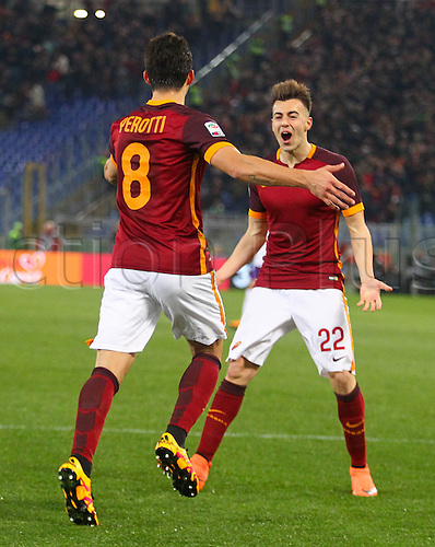 04.03.2016. Stadium Olimpico, Rome, Italy.  Serie A football league. AS Roma versus Fiorentina. Perotti celebrates as he scores for 3-0