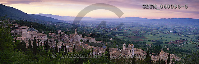 Tom Mackie, LANDSCAPES, panoramic, photos, View over Assisi, Umbria, Italy, GBTM040096-6,#L#