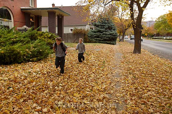 Nathaniel Nelson and Noah Nelson running to school<br />
