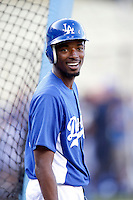 Dee Gordon #9 of the Los Angeles Dodgers before a game against the San Francisco Giants at Dodger Stadium on October 02, 2012 in Los Angeles, California. San Francisco defeated Los Angeles 4-3. (Larry Goren/Four Seam Images)
