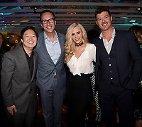 LOS ANGELES, CA - FEBRUARY 6:  CEO, FOX Entertainment Charlie Collier (Second From Left) and (L-R) THE MASKED SINGER panelists Ken Jeong, Jenny McCarthy and Robin Thicke attends the FOX Winter TCA 2019 All Star Party at The Fig House on February 6, 2019 in Los Angeles, California. (Photo by Frank Micelotta/Fox/PictureGroup)