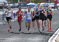 NWA Democrat-Gazette/J.T. WAMPLER Girls compete in the 4x800 meter relay Wednesday April 11, 2018 at the Bulldog Relays in Fayetteville.
