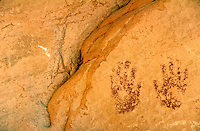 Petroglyphs and graffiti on Atlatl Rock. Nevada USA Valley of Fire State Park.