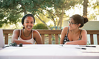 Occidental College students present their summer internship experiences at the Career Development Center's Reverse Career Fair, Thorne Hall patio, Sept. 3, 2015.<br /> (Photo by Marc Campos, Occidental College Photographer)