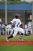 GCL Rays Oneill Manzueta (51) bats during a Gulf Coast League game against the GCL Pirates on August 7, 2019 at Charlotte Sports Park in Port Charlotte, Florida.  GCL Rays defeated the GCL Pirates 4-1 in the first game of a doubleheader.  (Mike Janes/Four Seam Images)