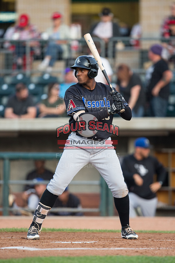 Francis Martinez (45) of the Missoula Osprey at bat against the Billings Mustangs at Dehler Park on August 21, 2017 in Billings, Montana.  The Osprey defeated the Mustangs 10-4.  (Brian Westerholt/Four Seam Images)