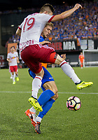 Cincinnati, OH - Tuesday August 15, 2017: Alex Muyl, Kevin Schindlerl during a 2017 U.S. Open Cup game between FC Cincinnati vs New York Red Bulls at Nippert Stadium.