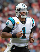 Carolina Panthers quarterback Cam Newton (1) runs onto the field following a time-out in the second quarter against the Washington Redskins at FedEx Field in Landover, Maryland on October, 2018.  The Redskins won the game 23 - 17.<br /> Credit: Ron Sachs / CNP