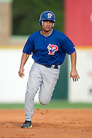 Pulaski Blue Jays second baseman Wesley Stone hustles towards third base in first inning action versus the Burlington Indians at Burlington Athletic Park in Burlington, NC, Saturday, July 29, 2006.  The Indians defeated the Blue Jays by the score of 8-4.