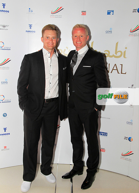 Tom Lewis and Simon Dyson during the 2015 Abu Dhabi Invitational Gala Evening held at The Viceroy Hotel, Yas Island, Abu Dhabi.: Picture Eoin Clarke, www.golffile.ie: 1/25/2015