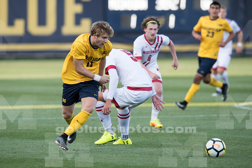 The University of Michigan men's soccer team beat Wisconsin, 2-1, at the UM Soccer Stadium in Ann Arbor on Sept, 8, 2017.