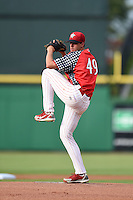 Clearwater Threshers starting pitcher Aaron Nola (49) delivers a warmup pitch during a game against the Dunedin Blue Jays on July 1, 2014 at Bright House Field in Clearwater, Florida.  Dunedin defeated Clearwater 1-0.  (Mike Janes/Four Seam Images)