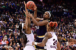 COLUMBUS, OH - APRIL 1: Jackie Young #5 of the Notre Dame Fighting Irish passes the ball between Victoria Vivians #35 of the Mississippi State Bulldogs and Jordan Danberry #24 of the Mississippi State Bulldogs during the championship game of the 2018 NCAA Division I Women's Basketball Final Four at Nationwide Arena in Columbus, Ohio. (Photo by Justin Tafoya/NCAA Photos via Getty Images)