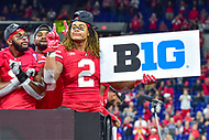 Indianapolis, IN - DEC 1, 2018: Ohio State Buckeyes defensive end Chase Young (2) celebrates on the podium with teammates after defeating the Northwestern Wildcats 45-24 in the Big Ten Championship game at Lucas Oil Stadium in Indianapolis, IN. (Photo by Phillip Peters/Media Images International)