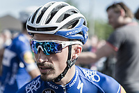 Later race winner Julian Alaphilippe (FRA/Quick Step Floors) waiting the pre race team presentation. <br /> <br /> 82nd La Fl&egrave;che Wallonne 2018<br /> 1 Day Race: Seraing - Huy (198,5km)