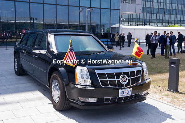 Belgium, Brussels - July 12, 2018 -- NATO summit, meeting of Heads of State / Government; here, 'The Beast', official state car of the President of the United States, waiting during the press conference of Donald Trump -- Photo © HorstWagner.eu