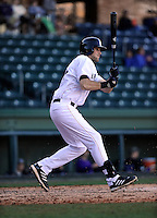 First baseman Jeff Murray (23) of the Cincinnati Bearcats in a game against the Western Carolina Catamounts on Sunday, February 24, 2013, at Fluor Field in Greenville, South Carolina. Cincinnati won in 10 innings, 7-6. (Tom Priddy/Four Seam Images)