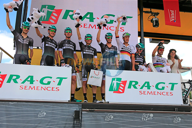 Bora-Hansgrohe lead the team classification, on the podium at sign on in Mondorf-les-Bains before the start of Stage 4 of the 104th edition of the Tour de France 2017, running 207.5km from Mondorf-les-Bains, Luxembourg to Vittel, France. 4th July 2017.<br /> Picture: Eoin Clarke | Cyclefile<br /> <br /> <br /> All photos usage must carry mandatory copyright credit (&copy; Cyclefile | Eoin Clarke)