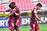 IBAGUE - COLOMBIA, 17-02-2019: Luis Gonzalez del Deportes Tolima celebra con Layvin Balanta después de anotar el segundo gol de su equipo a Envigado FC durante partido por la fecha 5 de la Liga Águila I 2019 jugado en el estadio Manuel Murillo Toro de Ibagué. / Luis Gonzalez of Deportes Tolima celebrates with Layvin Balanta after scoring the second goal of his team to Envigado FC during match for the date 5 of the Aguila League I 2019 played at Manuel Murillo Toro stadium in Ibague city. Photo: VizzorImage / Juan Carlos Escobar / Cont
