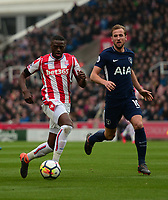 Bruno Martins Indi of Stoke in action with Harry Kane of Tottenham during the EPL - Premier League match between Chelsea and West Ham United at Stamford Bridge, London, England on 8 April 2018. Photo by PRiME Media Images.