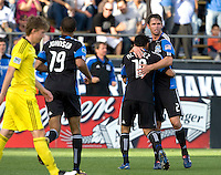 Bobby Burling of Earthquakes celebrates with Arturo Alvarez of Earthquakes after Alvarez scored a goal during the first half of the game against the Crew at Buck Shaw Stadium in Santa Clara, California.  San Jose Earthquakes tied Columbus Crew, 2-2.