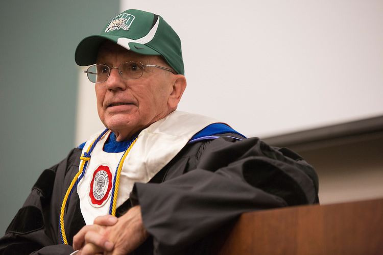 David Kirch, a professor of Accountancy, gives the commencement address at Ohio University College of Business Commencement Ceremony on April 9, 2016. (Photo by Emily Matthews)