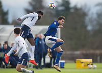 Christian Maghoma of Tottenham Hotspur and Fraser Hornby of Everton in action during the U23 - Premier League 2 match between Tottenham Hotspur U23 and Everton at Tottenham Training Ground, Hotspur Way, England on 15 January 2018. Photo by Vince  Mignott / PRiME Media Images.