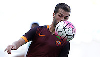 Calcio, Serie A: Roma vs Sassuolo. Roma, stadio Olimpico, 20 settembre 2015.<br /> Roma&rsquo;s Miralem Pjanic eyes the ball during the Italian Serie A football match between Roma and Sassuolo at Rome's Olympic stadium, 20 September 2015.<br /> UPDATE IMAGES PRESS/Isabella Bonotto