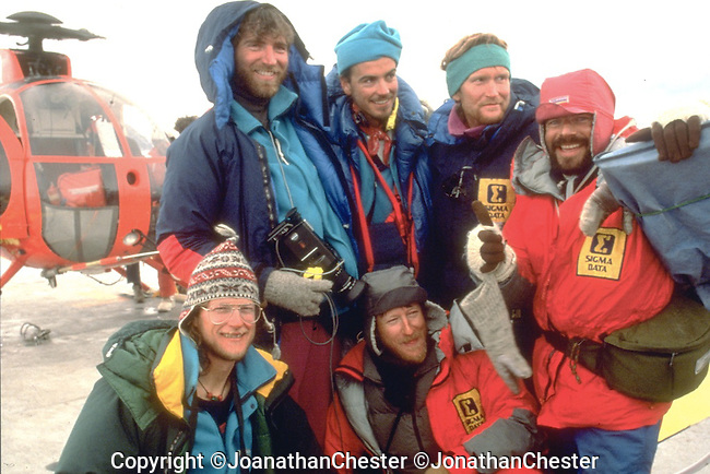 "Australian Bicentennial Antarctic Expedition (Feb 18th 1988) Greg Mortimer,Lyle Closs, Glenn Singleman,Chris Hilton Lincoln Hall (RIP) and Jonathan Chester made the first ascent of Mt Minto 4163m in Antarctica's, North Victoria Land on the epic  three-month-long ""Australian Bicentennial Antarctica Expedition"""