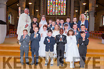 Pupils from CBS primary school Clounalour who made their holy communion in St John's Church Tralee on Saturday. Pupils from CBS primary school Clounalour, pictured with their teacher Miss Carol Butler and Fr Sean Hanafin, who made their holy communion in St John's Church Tralee on Saturday.