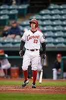 Altoona Curve left fielder Jordan Luplow (23) at bat during a game against the New Hampshire Fisher Cats on May 11, 2017 at Peoples Natural Gas Field in Altoona, Pennsylvania.  Altoona defeated New Hampshire 4-3.  (Mike Janes/Four Seam Images)
